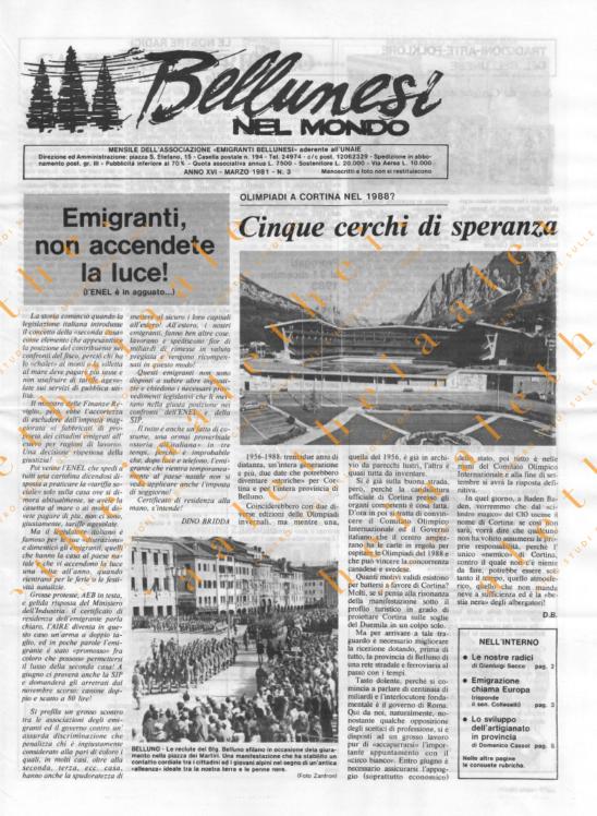 Bellunesi nel mondo n. 3 - marzo 1981
