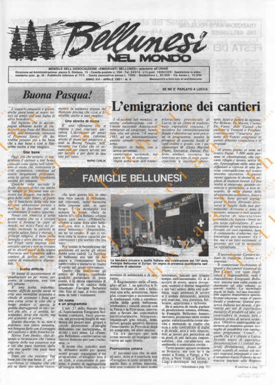 Bellunesi nel mondo n. 4 - aprile 1981