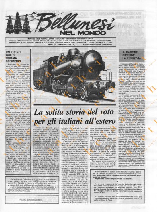Bellunesi nel mondo n. 5 - maggio 1981