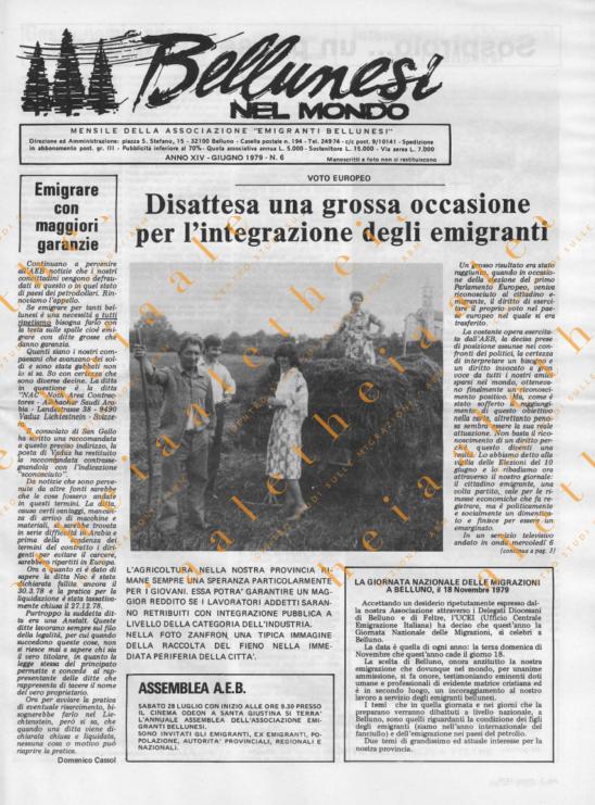 Bellunesi nel mondo n. 6 - giugno 1979