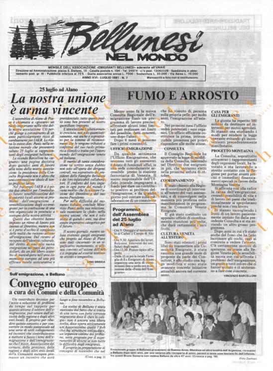 Bellunesi nel mondo n. 7 - luglio 1981