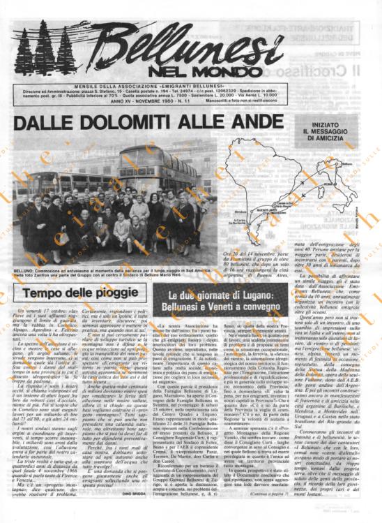 Bellunesi nel mondo n. 11 - novembre 1980