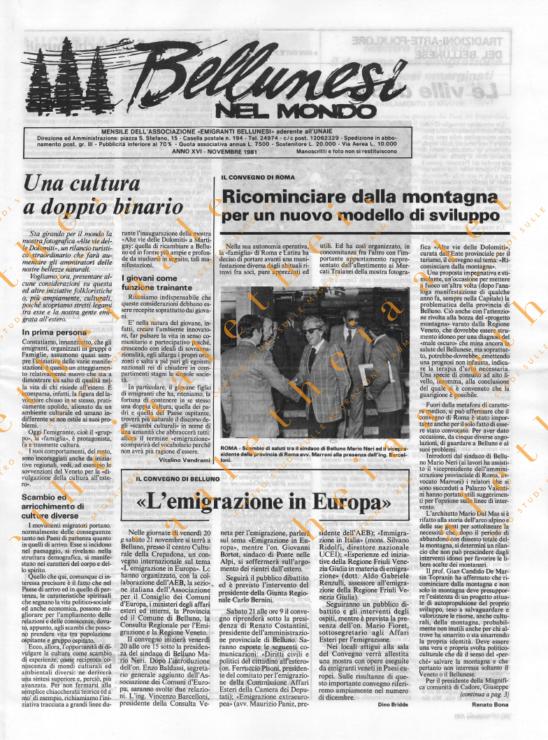 Bellunesi nel mondo n. 11 - novembre 1981