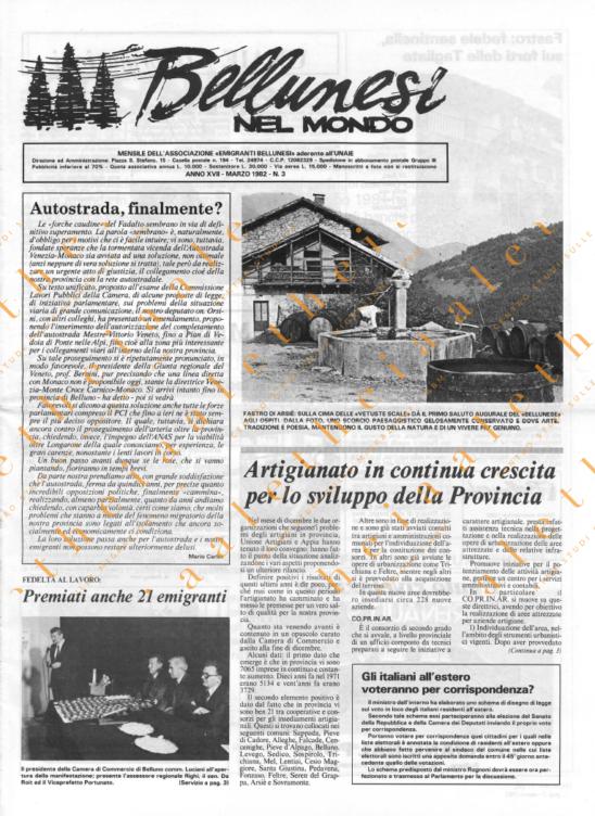 Bellunesi nel mondo n. 3 - marzo 1982