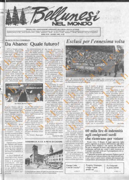 Bellunesi nel mondo n. 6 - giugno 1983