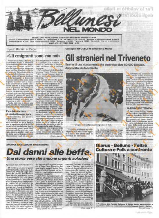 Bellunesi nel mondo n. 10 - ottobre 1982