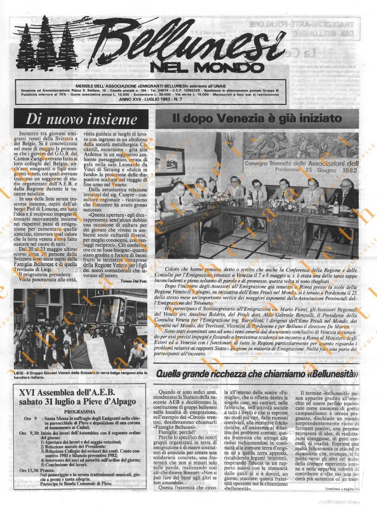 Bellunesi nel mondo n. 7 - luglio 1982