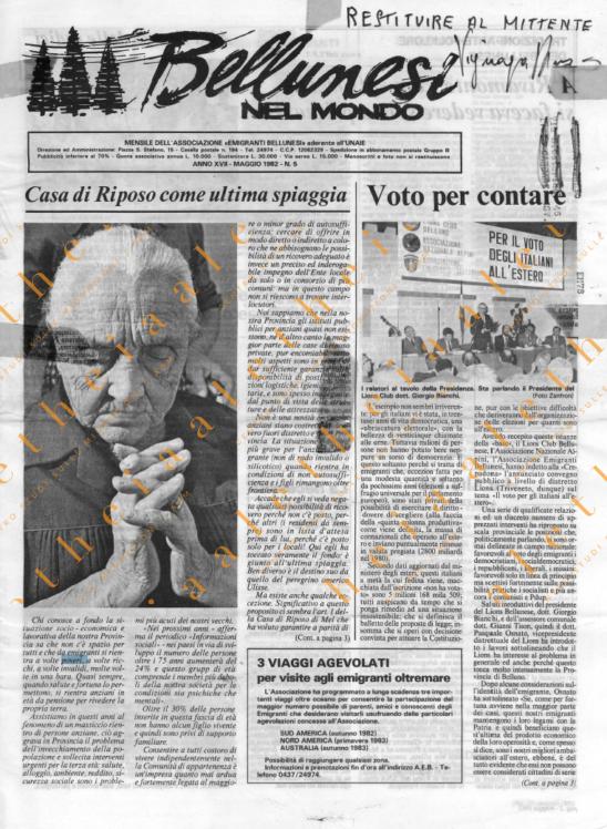 Bellunesi nel mondo n. 5 - maggio 1982