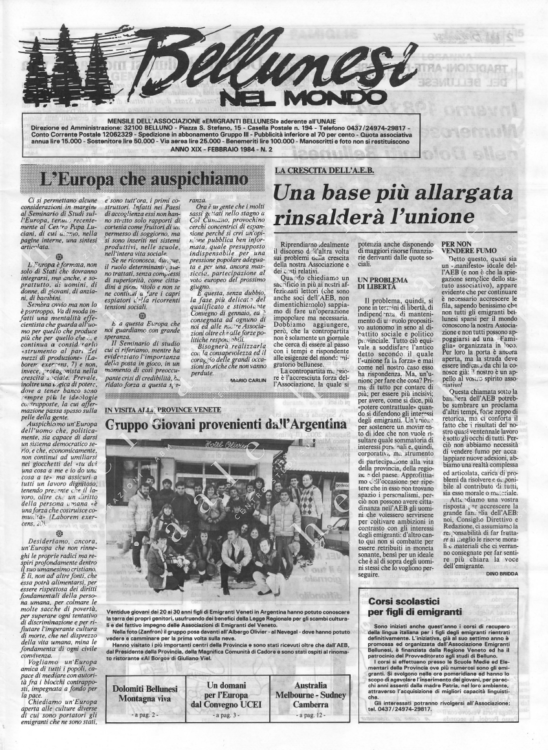 Bellunesi nel mondo n. 2 febbraio 1984