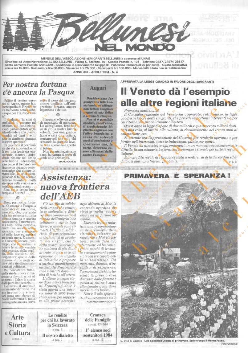 Bellunesi nel mondo n. 4 aprile 1984