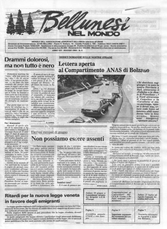 Bellunesi nel mondo n. 5 - maggio 1984
