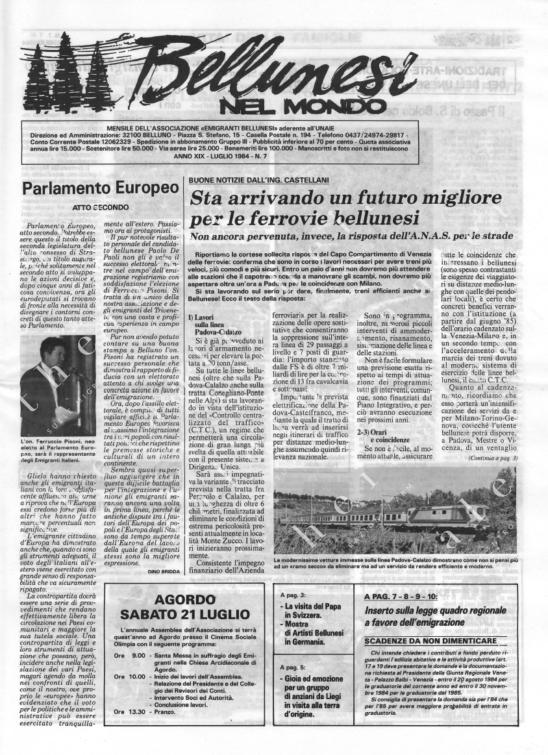 Bellunesi nel mondo n. 7 - luglio 1984