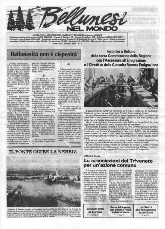 Bellunesi nel mondo n. 3 marzo 1984