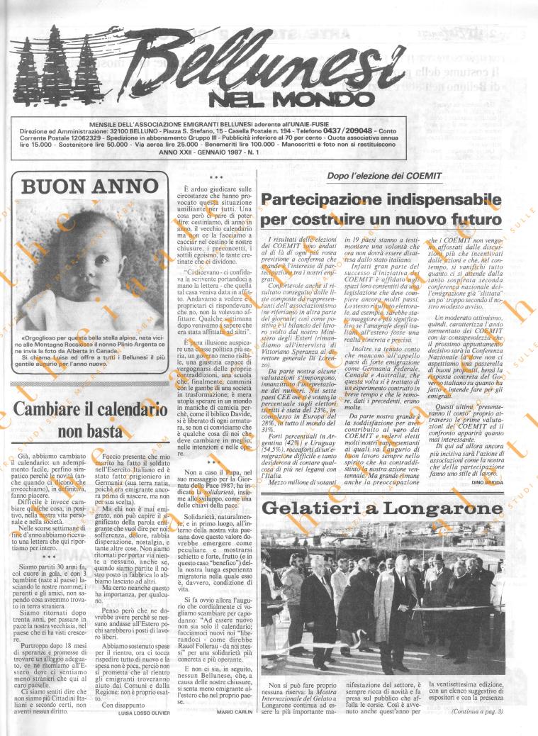 Bellunesi nel mondo n. 1 - gennaio 1987