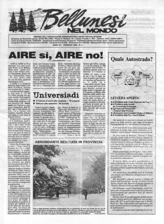 Bellunesi nel mondo n. 2 - febbraio 1985