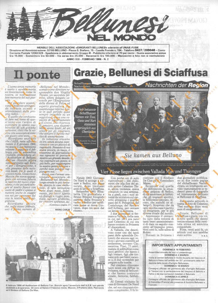 Bellunesi nel mondo n. 2 - febbraio 1986