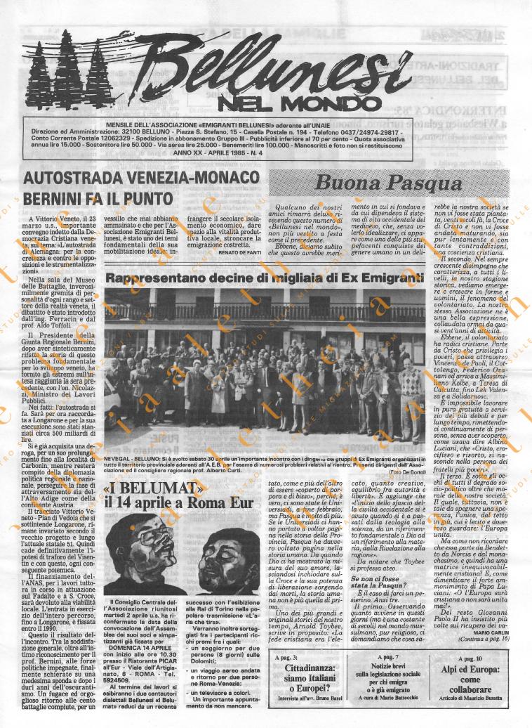 Bellunesi nel mondo n. 4 - aprile 1985