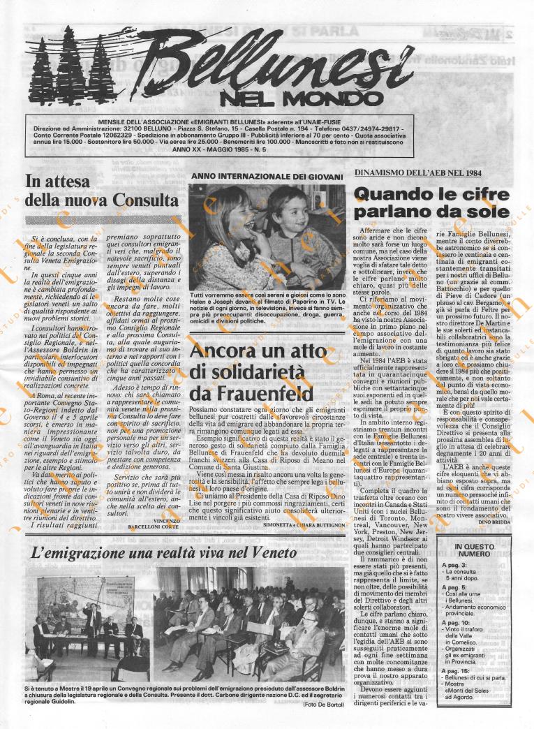 Bellunesi nel mondo n. 5 - maggio 1985