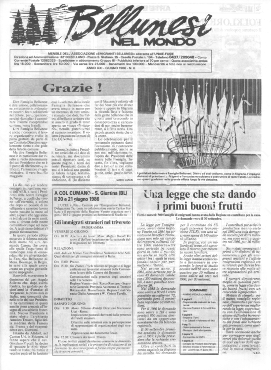 Bellunesi nel mondo n. 6 - giugno 1986