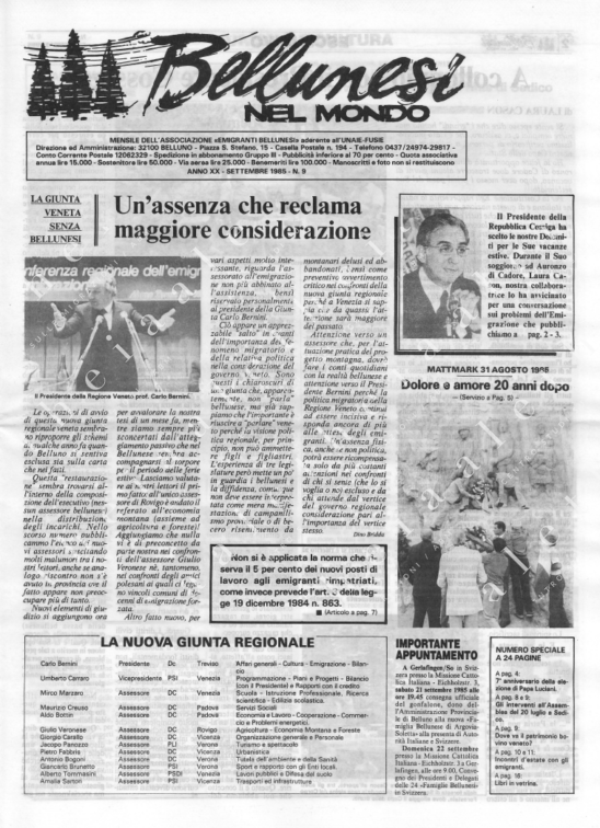 Bellunesi nel mondo n. 9 - settembre 1985