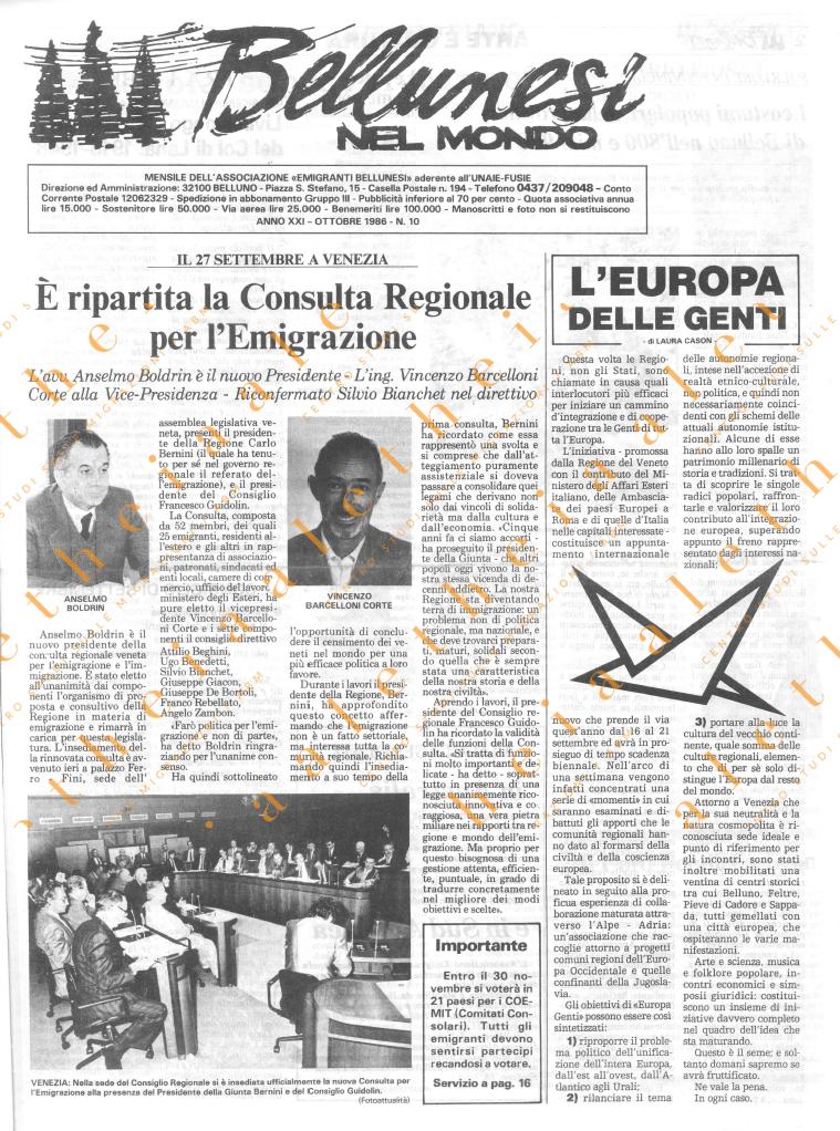 Bellunesi nel mondo n. 10 - ottobre 1986