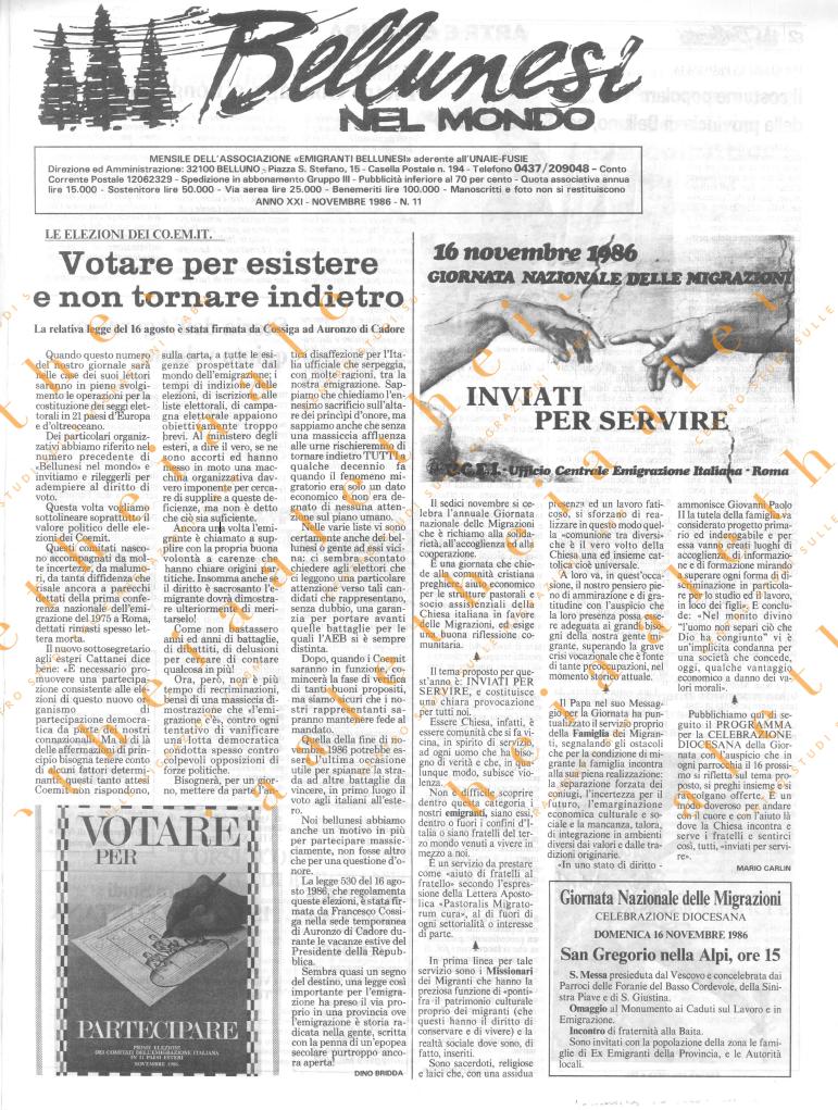 Bellunesi nel mondo n. 11 - novembre 1986