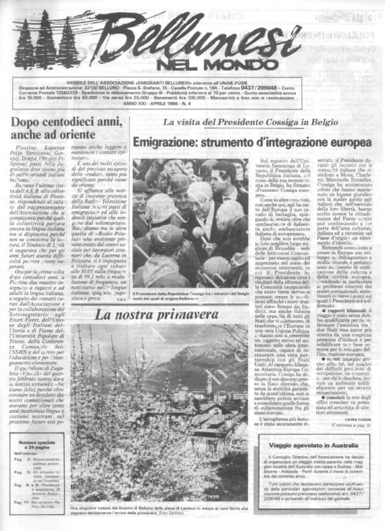 Bellunesi nel mondo n. 4 - aprile 1986