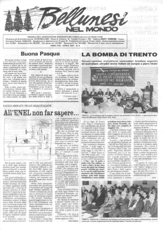 Bellunesi nel mondo n. 4 - aprile 1987