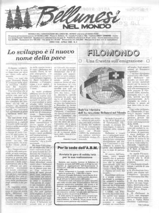 Bellunesi nel mondo n. 4 - aprile 1988