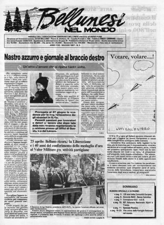 Bellunesi nel mondo n. 5 - maggio 1987