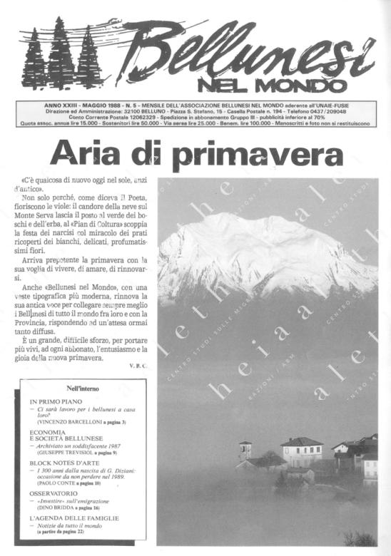 Bellunesi nel mondo n. 5 - maggio 1988