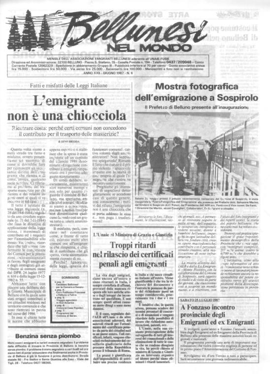 Bellunesi nel mondo n. 6 - giugno 1987